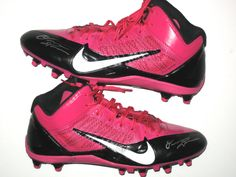 5350001a8 Orleans Darkwa New York Giants Game Worn   Signed Pink   Black Breast  Cancer Awareness Nike Cleats