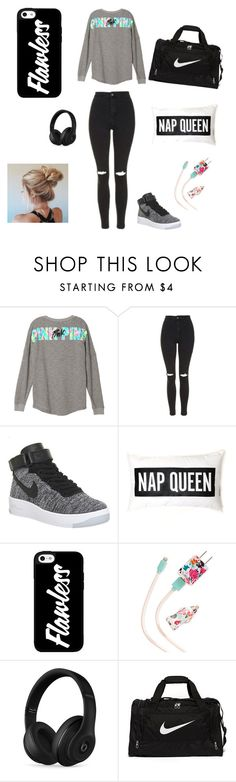 """""""On a road trip ❤️"""" by mosthated89 ❤ liked on Polyvore featuring Topshop, NIKE, ban.do and Beats by Dr. Dre"""
