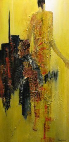 Cherchez la femme -  80x40 cm  acrylique sur toile