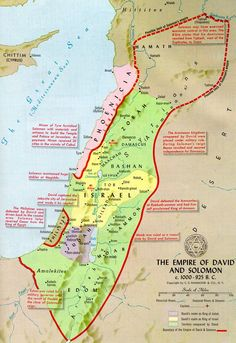 Map of Israel during the reigns of Saul, David, and Solomon. David expanded Saul's kingdom (green areas) and Solomon stretched its influence even further (red boundaries)