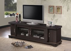 "Wholesale Interiors Baxton Studio Viveka Dark Brown Wood TV Cabinet with 2 Glass Doors and 2 Doors, 70"""