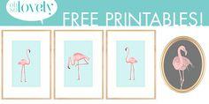 Four FREE Pink Flamingo Printables