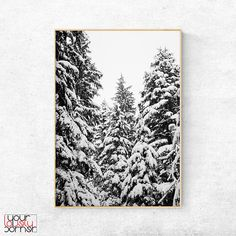 Nature Photography, Pine Trees Print, Forest Printable Wall Art, Snowy Forest Poster, Winter Forest, Modern Nordic Decor, Scandinavian Art