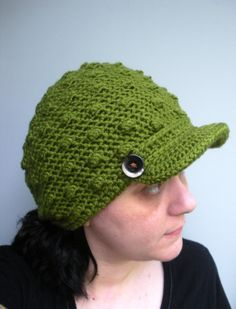 Crochet Newsboy tam cap beanie hat in deep Avocado by luvbuzz,