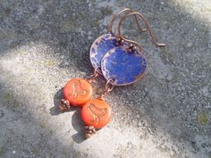 Hammered Copper Earrings with Red Czech by CopperMountainGems, $20.00