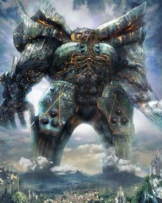 View an image titled 'Fal'Cie Titan Art' in our Mobius Final Fantasy art gallery featuring official character designs, concept art, and promo pictures. Final Fantasy Artwork, Dark Fantasy Art, Fantasy Monster, Monster Art, Mythical Creatures Art, Fantasy Creatures, Fantasy Character Design, Character Art, Mobius Final Fantasy