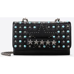 Valentino Garavani Shoulder Bag With Starstudded Chain (34.090.500 IDR) ❤ liked on Polyvore featuring bags, handbags, shoulder bags, black, valentino handbags, chain purse, shoulder strap bag, metallic purse and valentino purses