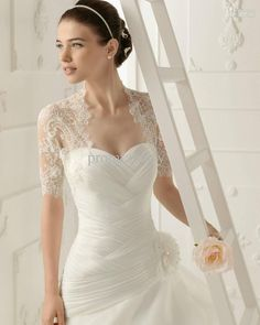 Wholesale 2013 Custom New Elegant Short Sleeves White Lace Bolero Wedding Jackets Bridal Wraps, Free shipping, $23.52-42.68/Piece | DHgate