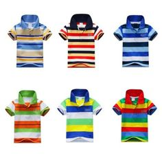 Baby-Boys-Kid-Tops-T-Shirt-Summer-Short-Sleeve-T-Shirt-Striped-Polo-Shirt-Tops **************************************** eBay: חולצת כותנה פולו לילדים עד גיל 7 מ-15 ₪ + משלוח חינם!