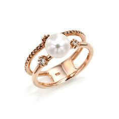 14k rose gold, 반지, pearl, cubic zircornia