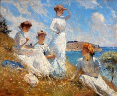"""https://flic.kr/p/aohGkM   Frank W. Benson  """"Summer 1909"""" or """"Summer of 1909"""", Oil on canvas   HI RES  Frank Weston Benson [American Impressionist Painter, 1862-1951]  This painting depicts Benson's daughters outdoors at their summer home, Wooster Farm, on the island of North Haven, Maine.  Website: <a href=""""http://www.frankwbenson.com/index.html"""" rel=""""nofollow"""">www.frankwbenson.com/index.html</a> _________  Image compilation and slight restoration.by plumleaves"""