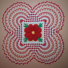 Crochet Flowers Patterns BellaCrochet: Country Christmas Doily: A Free Crochet Pattern For You Free Crochet Doily Patterns, Christmas Crochet Patterns, Holiday Crochet, Crochet Art, Crochet Squares, Crochet Home, Thread Crochet, Crochet Motif, Crochet Crafts