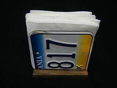 License Plate Napkin Holder Pennsylvania PA Paper Holder Blue & Yellow