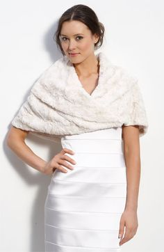 "$98.00 on @Keaton Row website, arranged with full of fashion... click to see it in action. A plush faux-fur stole with a fold-over neckline is perfect for gracing chilly shoulders.  Front snap closure. Approx. length from shoulder: 15"". Lined. Polyester faux fur"