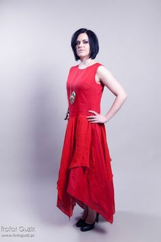 red linen dress by EsteraGrabarczyk on Etsy