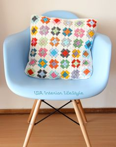mini granny squares cushion, white and bright