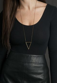 Long Triangle Necklace // The TRINITY NECKLACE // Big Hammered Brass Triangle Necklace // Long Geometric Necklace // Choose your length