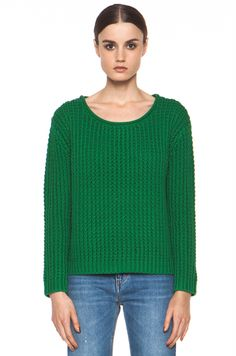 Acne Sapata Solid Pullover in Deep Green
