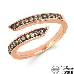 Rose Gold Bypass Ring with Chocolate Diamond Accents