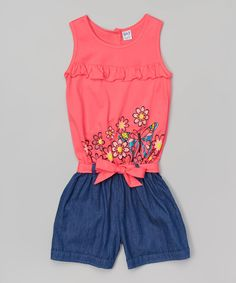 Loving this Coral Floral Butterfly Belted Romper - Toddler & Girls on #zulily! #zulilyfinds