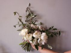 Bouquet of peonies, jasmine and russian olive. By Ariel Dearie Flowers