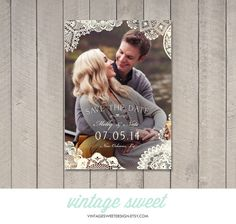 Vintage Lace Save the Date Card / Magnet by vintagesweetdesign