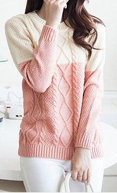 colorblock cable knot sweater