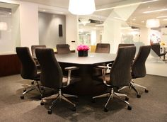 The Briefing Collection really made an impact this year at NeoCon with its diverse line. Spotlighted here is a gorgeous Briefing conference table with an elegant back painted glass top.