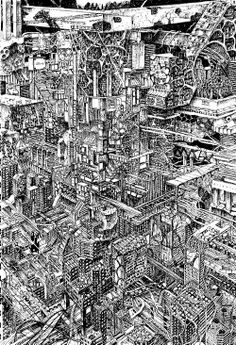 (7) Tumblr City Drawing, Drawing Sketches, Art Drawings, Detailed Drawings, Amazing Drawings, Brain Art, Architecture Background, Drawing Studies, City Illustration