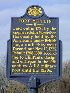 Marker for Fort Mifflin in Philadelphia, Pennsylvania. Continental Army, Most Haunted Places, American Revolutionary War, Pittsburgh Pa, Fortification, Philadelphia Pa, Early American, Military History, Revolutionaries