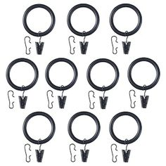 IKEA - SYRLIG, Curtain ring with clip and hook, black, You can hang your curtains with either combination - rings with clips or rings with hooks. 38 mm), 10 clips with hooks and 10 hooks. RIKTIG curtain hooks are sold separately. Thick Curtains, Ikea Curtains, Hanging Curtains, Sheer Curtains, Room Darkening Curtains, Double Curtain Rod Set, Double Rod Curtains, Curtain Wire, Curtain Rails