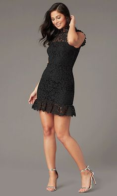 High-Neck Lace Little Black Party Dress with Ruffle