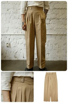 Mens High Waisted Trousers, Wide Trousers, 1950s Fashion, Mens Fashion, Vintage Fashion, Pretty Outfits, Cool Outfits, Cloth Belt, Smart Outfit