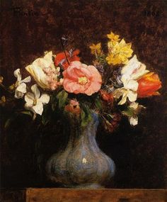 Flowers Camelias and Tulips, 1862 by Henri Fantin-Latour. Realism. flower painting. Private Collection