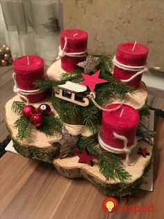 Holiday Red Candlestick Art Design Ideas Diy Craft Table diy arts and crafts table Centerpiece Christmas, Decoration Christmas, Christmas Candles, Decoration Table, Rustic Christmas, Xmas Decorations, Christmas Wreaths, Diy Christmas, Diy Advent Wreath