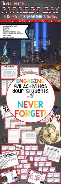 This bundle of 9/11 activities is guaranteed to help your students NEVER FORGET the tragedy that happened on September 11, 2001.  If you are seeking creative activities to keep your students engaged as you teach this important part of American History, click the preview and discover a variety of no prep/low prep resources to easily incorporate into your social studies lesson plans!