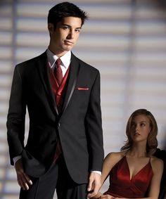 Red Tie & Vest with Black Tuexdo for Groom