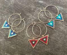 This miyuki triangle earrings made of high quality Miyuki Japanese beads.These elegant triangle miyuki earrings can be a Beaded Earrings Patterns, Bead Earrings, Beaded Jewelry, Triangle Earrings, Bridesmaid Earrings, Birthstone Jewelry, Minimalist Jewelry, Valentine Day Gifts, Creations