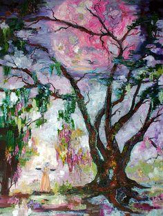 Original Oil Painting Pink Moon  Garden Of Good And Evil Savannah Bird Girl https://seethis.co/76Jdo/  #impressionism #impressionist #art