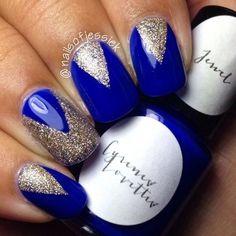 nageldesign mit blau & silber