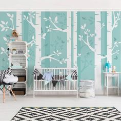 Shop a wide range of feature wall ideas, wallpaper murals & removeable wallpapers: brick wallpaper, beaches, flowers, wall murals for kids. Woodland Bedroom, Kids Wall Murals, Tree Murals, Wall Stickers Animals, Baby Room Colors, Artist Wall, White Wall Decor, High Quality Wallpapers, Wall Wallpaper