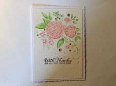 Watercoloured card using Wplus9 Ranunculus stamp