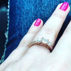 Congratulations to Brett and Emily on their recent engagement! We're obsessed with Emily's rose gold three stone engagement ring! Three Stone Engagement Rings, Three Stone Rings, Wedding Day, Wedding Rings, Emily Rose, Congratulations, Rose Gold, Diamond, Create