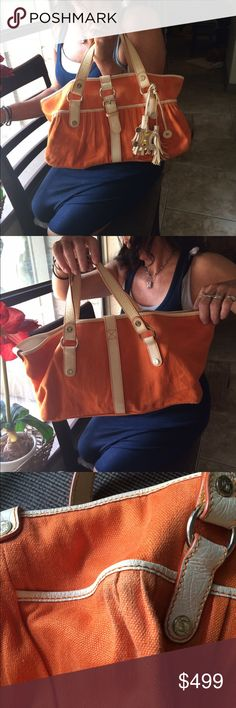 Auth $900 CELINE macadam large orange tote Bought in Greece years ago, some wear on corner (please see pic) inside is dirty (please see photo) Celine Bags