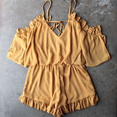 chiffon peek a boo shoulder romper with ruffle hem in mustard - shophearts - 1