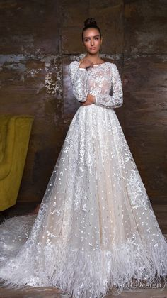 crystal design 2018 long sleeves bateau neck full embellishment modest romantic a line wedding dress v back chapel train (kayra) mv -- Crystal Design 2018 Wedding Dresses