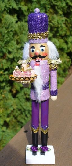Nutcracker Purple and Gold Pink Gold Perfume Vanity Set Purple Christmas, Beach Christmas, Shabby Chic Christmas, Beautiful Christmas, Nutcrackers For Sale, German Nutcrackers, Purple Lilac, Pink And Gold, Nutcracker Characters