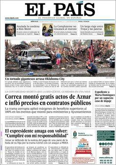 Los Titulares y Portadas de Noticias Destacadas Españolas del 22 de Mayo de 2013 del Diario El País ¿Que le parecio esta Portada de este Diario Español?