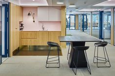 SLS office is a sharp continuation of the earlier renovated floor. The office consists of ten work rooms and one team work space – the room with the. Open Kitchen, Floor Design, Design Agency, Flooring, Table, Room, Furniture, Home Decor, Places
