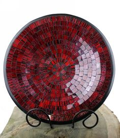 Christmas Gift Ideas: Handmade Shimmering Red Round Mosaic Bowl